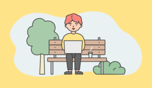 A picture of someone working on a park bench
