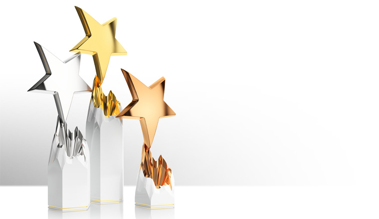 A picture of three star awards