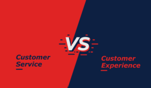 A picture of customer service vs customer experience