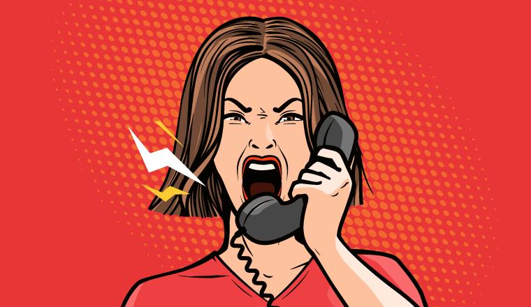 A cartoon of an difficult customer