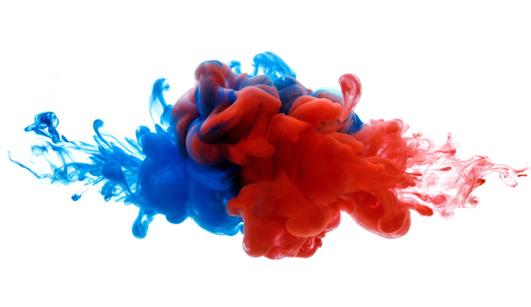 A picture of ink in water merging together