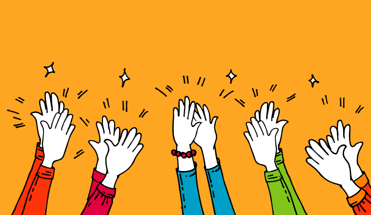 A picture of hands clapping