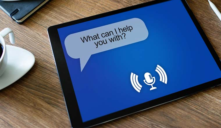 A picture of a voice assistant on device screen