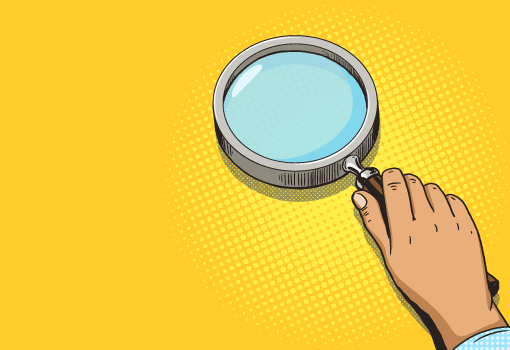 A cartoon of a magnifying glass