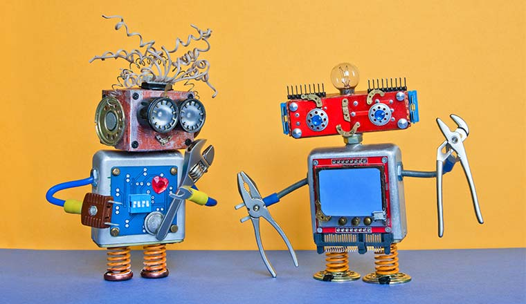 A picture of robots with tools