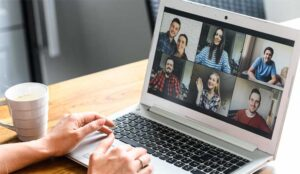A picture of a video call on laptop