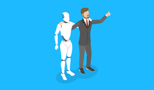 A picture if robot and human co-operation