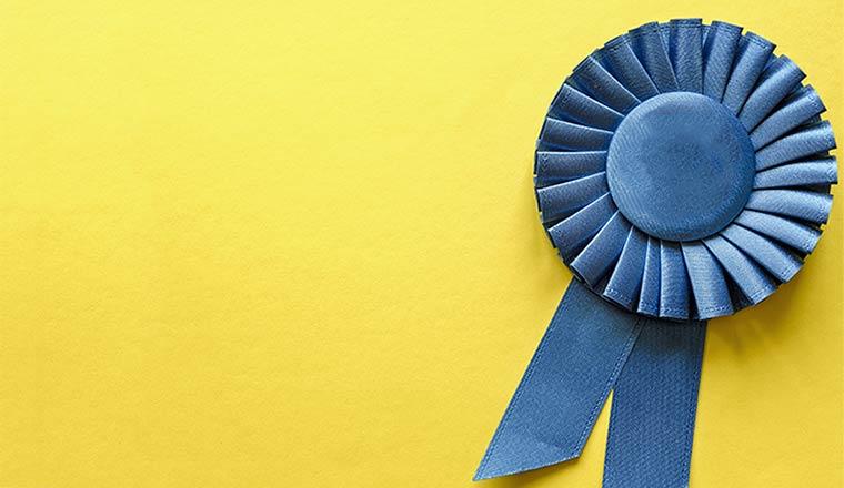 A photo of an award ribbon