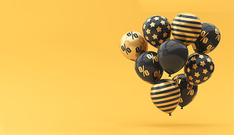 A photo of Black Friday balloons