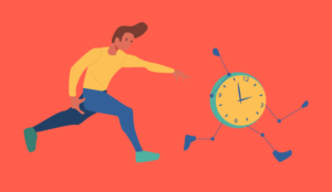 A picture of someone chasing a clock