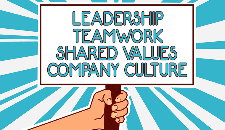 A picture of a company culture sign