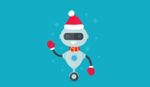 A picture of a festive chat bot