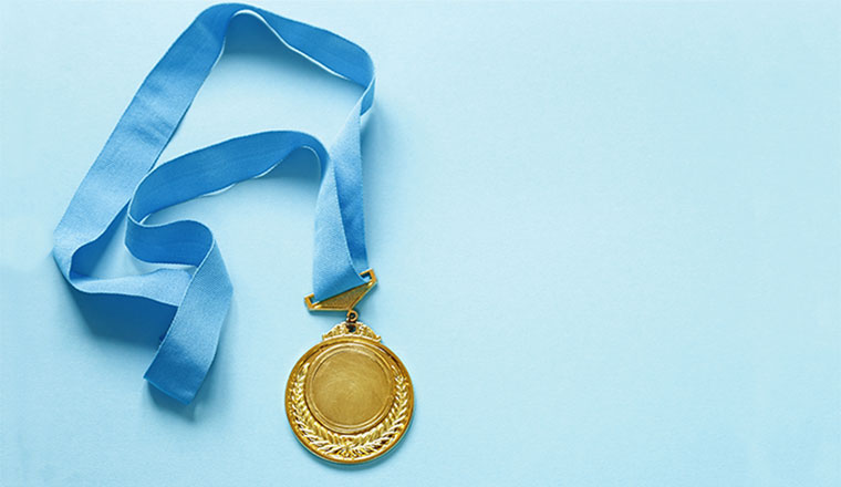 A photo of a gold medal