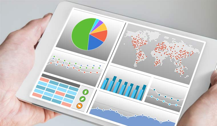 A picture of a mobile device with an analytics dashboard