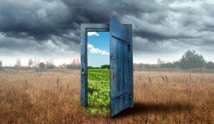 A photo of a nice landscape through a door