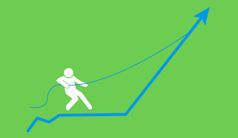 A picture of someone pulling an improvement arrow upwards