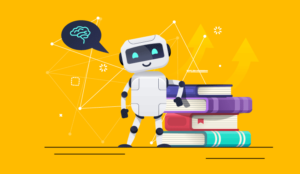 A picture of robots leaning on books