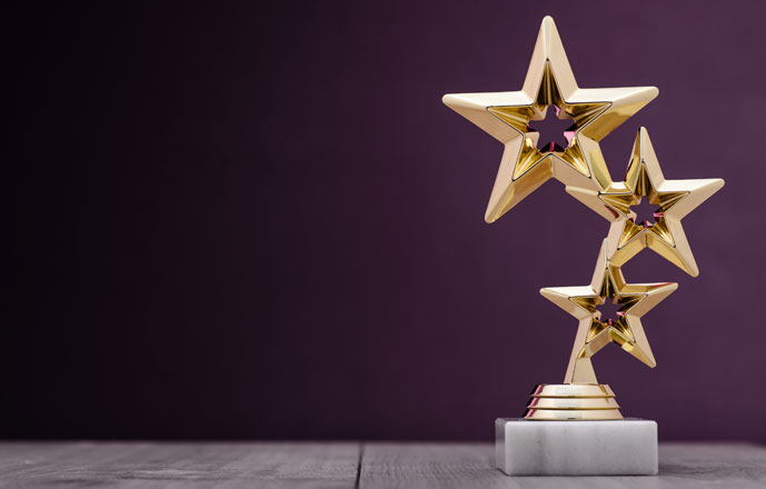 3 gold stars on an award trophy