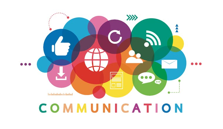 A picture of communication icons