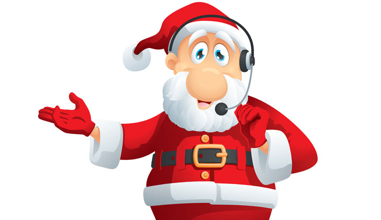 A picture of Father Christmas wearing a headset