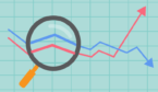 A picture of magnifying glass looking over trend lines