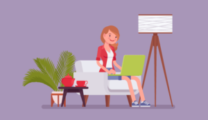 A cartoon of a remote worker