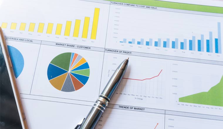 A picture of a business report graphs and data analysis