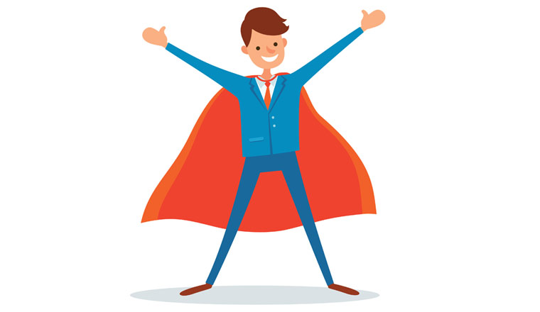 A picture of a cartoon agent wearing a red cape
