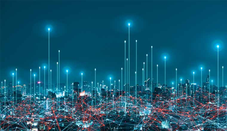 A picture of networks over a city
