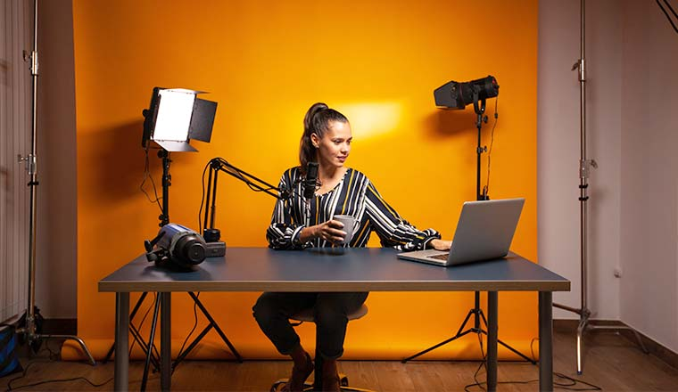 A photo of someone setting up for a webinar presentation