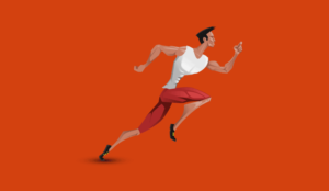 A picture of a cartoon sprinter