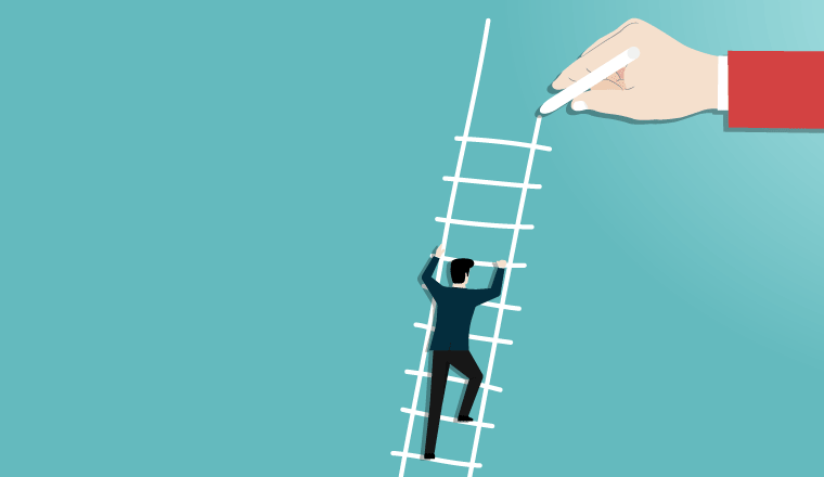 A picture of someone going up a ladder