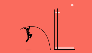 A cartoon of someone doing the high jump