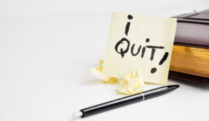 A picture of a sticky note with the words I quit