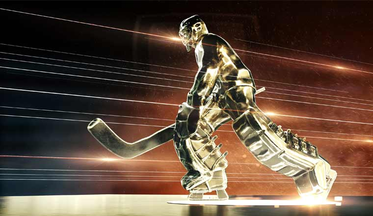 A picture of a ice hockey sculpture