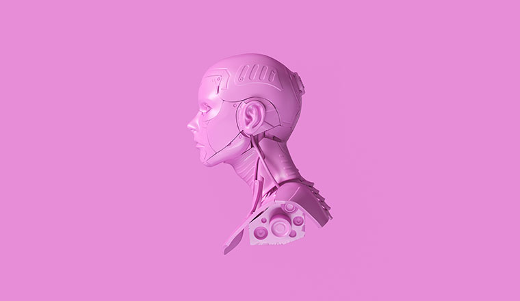 A picture of a pink cyborg bust