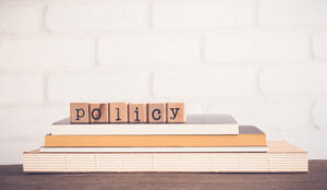 A picture of the word policy in some blocks
