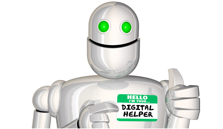 A picture of a ai robot wearing a sticker with the words Hello I'm Your Digital Helper