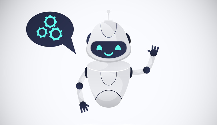 A picture of a chatbot waving