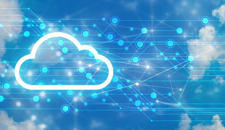 A picture of a cloud and network icons