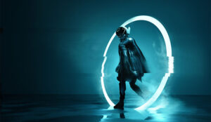 A photo of someone walking through a futuristic entrance