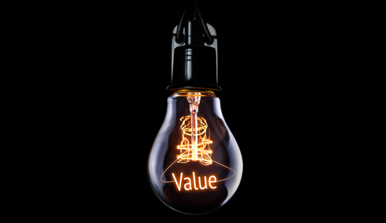 A picture of a lightbulb with the word Value