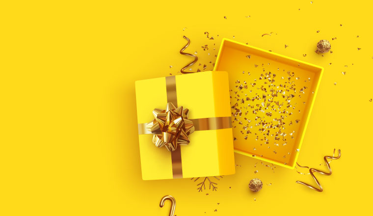 A photo of an open gift box