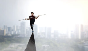 A photo of a tight rope walker