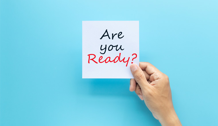 A picture of the words Are you ready on white paper