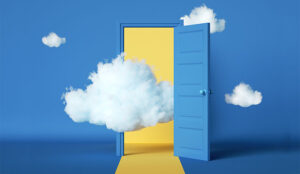 A picture of a cloud in a doorway