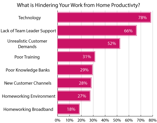 A graph showing blockers to work from home productivity