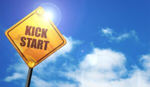 """A photo of a road sign saying """"kickstart"""""""