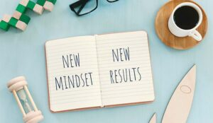 """A photo of a """"new mindset, new results"""" book"""