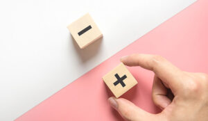 A photo of plus and minus blocks